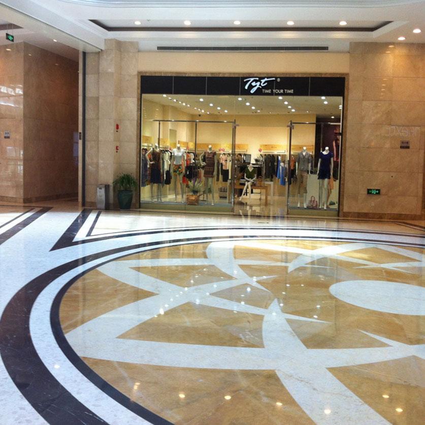 中國河北省石家莊勒泰購物中心地坪使用的是來自台灣羅馬崗石人造石迪奧系列及維納斯系列的建材精品