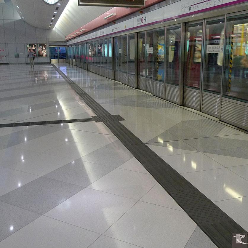 香港港鐵朗平站及元朗站地坪使用的是來自台灣羅馬崗石人造石蒂雅系列的建材精品